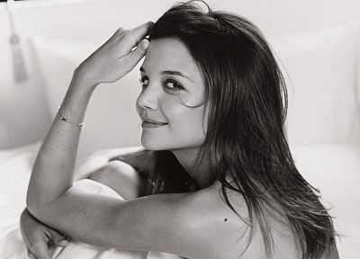 women, actress, Katie Holmes, grayscale, monochrome - related desktop wallpaper