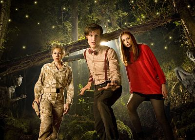 Matt Smith, Karen Gillan, Amy Pond, Eleventh Doctor, Doctor Who, River Song, Alex Kingston, weeping angel - related desktop wallpaper