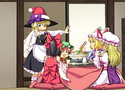 Touhou, animal ears, Miko, Kirisame Marisa, Hakurei Reimu, Yakumo Yukari, Chen, Yakumo Ran, detached sleeves, witches - desktop wallpaper