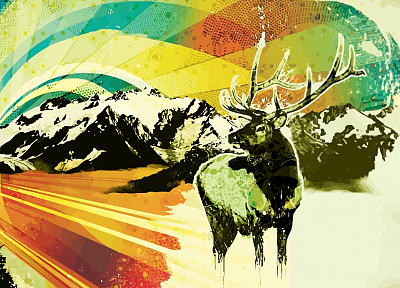 mountains, deer - random desktop wallpaper