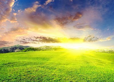 landscapes, Sun, grass - desktop wallpaper