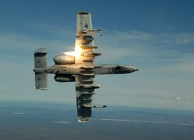 aircraft, military, flares, A-10 Thunderbolt II - random desktop wallpaper