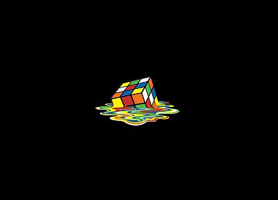 minimalistic, melting, Rubiks Cube, black background - related desktop wallpaper