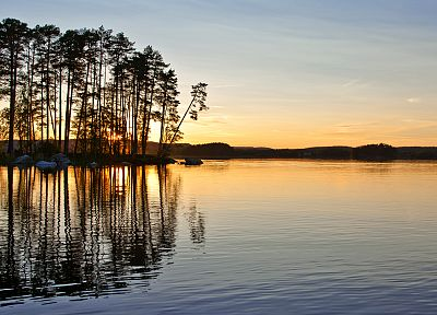 water, sunset, landscapes, nature, trees, lakes, reflections - related desktop wallpaper