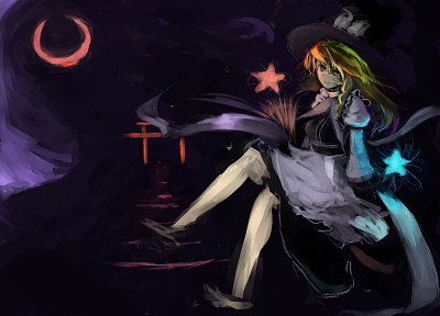 blondes, witch, Touhou, black, dark, stars, Moon, long hair, gate, yellow eyes, brooms, Kirisame Marisa, sitting, torii, braids, aprons, anime girls - random desktop wallpaper