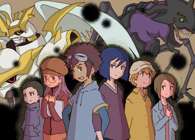 Digimon, anime, davis, Hikari Kamiya, Takeru Takaishi, Ken Ichijouji - related desktop wallpaper