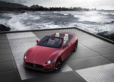 water, coast, cars, Maserati, vehicles, convertible - desktop wallpaper