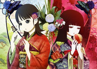 flowers, Jigoku Shoujo, kimono, red eyes, Enma Ai, Japanese clothes, black hair, butterflies - desktop wallpaper