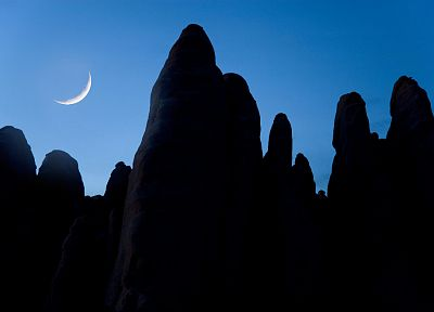 mountains, night, Moon, Arches National Park, Utah, rock formations - related desktop wallpaper