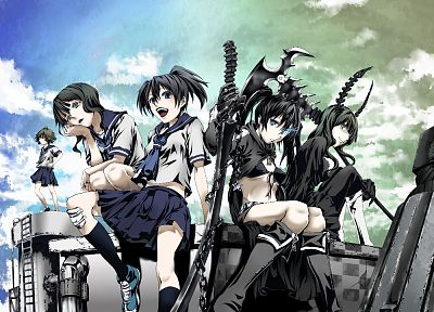 Black Rock Shooter, school uniforms, Dead Master, Takanashi Yomi, Kuroi Mato, Koutari Yuu, knee socks - desktop wallpaper
