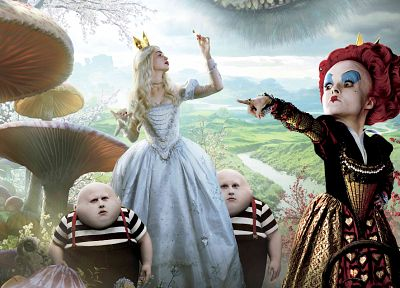 Anne Hathaway, Alice in Wonderland, White Queen, Helena Bonham Carter, Queen of Hearts, Cheshire Cat - desktop wallpaper