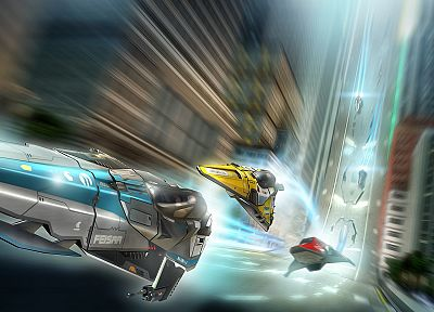 video games, artwork, Wipeout HD - random desktop wallpaper