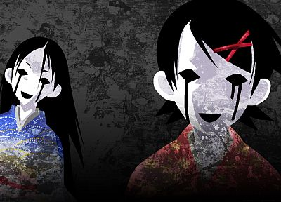 Sayonara Zetsubou Sensei, tears, long hair, kimono, black eyes, short hair, masks, open mouth, Fuura Kafuka, Japanese clothes, anime girls, pale skin, hair ornaments, gray background, bangs, black hair, Kitsu Chiri, hair pins - random desktop wallpaper