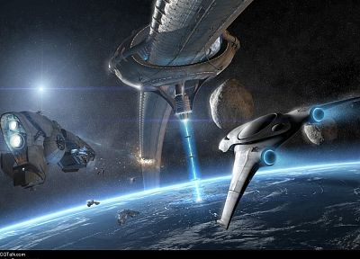 outer space, fantasy art, spaceships, battles, science fiction, vehicles - related desktop wallpaper