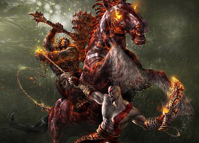 video games, Kratos, God of War, horses - random desktop wallpaper