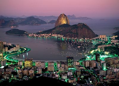 coast, cityscapes, night, architecture, buildings, Brazil, Rio De Janeiro - desktop wallpaper