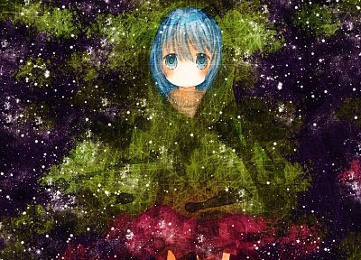 Vocaloid, Hatsune Miku, blue eyes, leaves, blue hair - desktop wallpaper