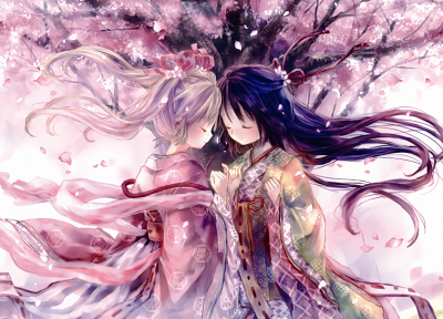 cherry blossoms, Onineko, soft shading, Japanese clothes - related desktop wallpaper