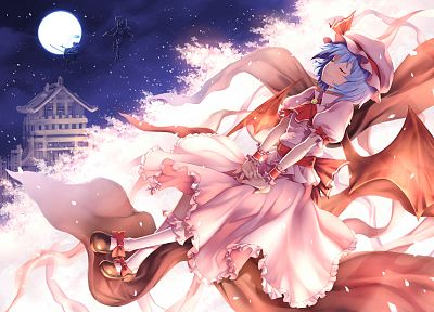 Touhou, wings, dress, Izayoi Sakuya, blue hair, Konpaku Youmu, vampires, short hair, Remilia Scarlet, anime girls - related desktop wallpaper