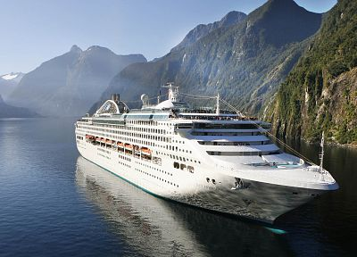 mountains, landscapes, cruise ship, sun princess, princess cruises, sea - desktop wallpaper