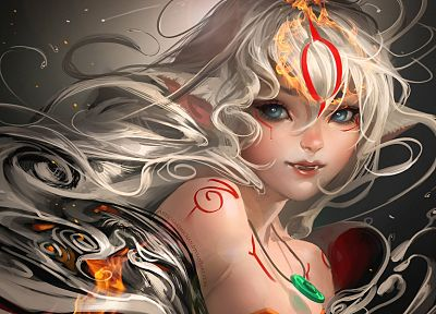 women, Okami, fantasy art, artwork, white hair, Amaterasu, Sakimichan - desktop wallpaper