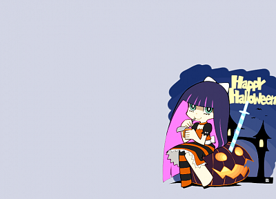 Halloween, Panty and Stocking with Garterbelt, simple background, Anarchy Stocking, striped legwear - desktop wallpaper