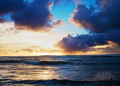 water, sunset, clouds, landscapes, waves - random desktop wallpaper