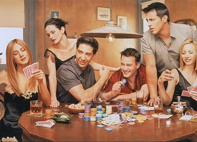 poker, Jennifer Aniston, friends, Courteney Cox, Lisa Kudrow, Matt Leblanc, Matthew Perry, David Schwimmer, Rachel Green, Friends (TV Series) - random desktop wallpaper