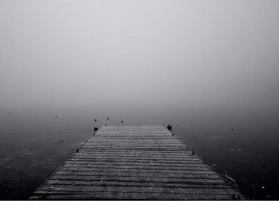 dock, fog, piers - random desktop wallpaper