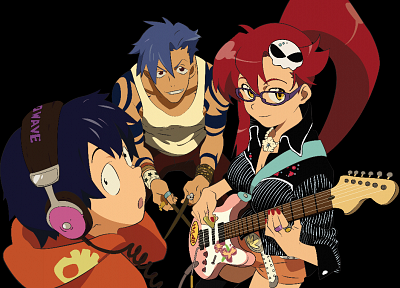Kamina, Tengen Toppa Gurren Lagann, Simon, Littner Yoko, anime boys, anime girls - desktop wallpaper