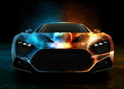 blue, red, multicolor, supercars, Zenvo st-1 - desktop wallpaper