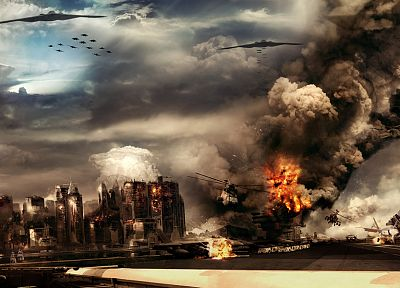 helicopters, explosions, destruction, Statue of Liberty, action, widescreen - random desktop wallpaper