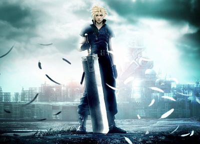 blondes, Final Fantasy, clouds, Final Fantasy VII Advent Children, feathers, Cloud Strife, swordsman - desktop wallpaper