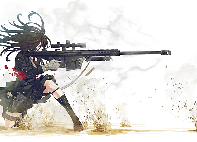 school uniforms, weapons, sniper rifles, anime, simple background, Kozaki Yusuke, Barrett, original characters - random desktop wallpaper