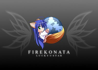 Lucky Star, school uniforms, Firefox, blue hair, simple background, Izumi Konata - related desktop wallpaper