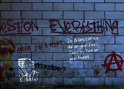 quotes, graffiti, anarchy, Question Everything - related desktop wallpaper
