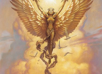 angels, wings, Magic: The Gathering, fantasy art, artwork, Todd Lockwood - related desktop wallpaper