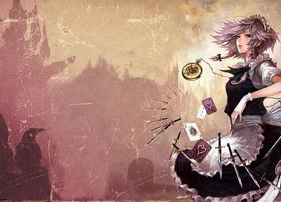cards, Touhou, gloves, maids, blue eyes, Izayoi Sakuya, knives, white hair, anime girls - desktop wallpaper