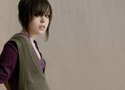brunettes, women, Ellen Page, actress, bangs - random desktop wallpaper