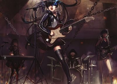 boots, flames, music, Black Rock Shooter, stockings, blue eyes, keyboards, Dead Master, long hair, short hair, thigh highs, instruments, guitars, drums, twintails, drum set, hoodies, music bands, chains, white hair, ahoge, Black Gold Saw, soft shading, St - related desktop wallpaper
