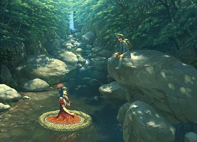 water, video games, nature, Touhou, trees, dress, forests, blue eyes, floating, stones, ribbons, blue hair, green eyes, green hair, scenic, Mountain of Faith, smiling, red dress, sitting, waterfalls, rivers, Kawashiro Nitori, hats, Kagiyama Hina, anime gi - related desktop wallpaper