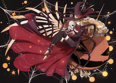 skulls, dress, anime, hats, anime girls, pumpkins - desktop wallpaper