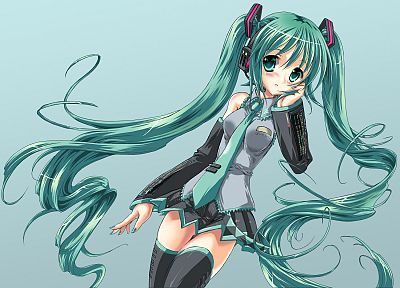 Vocaloid, Hatsune Miku, simple background, detached sleeves - popular desktop wallpaper