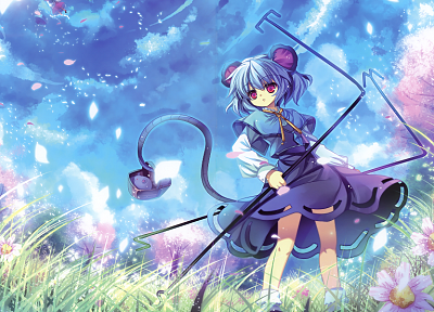 women, video games, Touhou, cherry blossoms, blue hair, animal ears, Hakurei Reimu, anime, pink eyes, flower petals, mice, skyscapes, Nazrin, anime girls, Capura Lin - desktop wallpaper