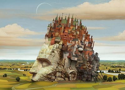 castles, fields, hills, rivers, Jacek Yerka, faces, photo manipulation, Photogen and Nycteris - desktop wallpaper