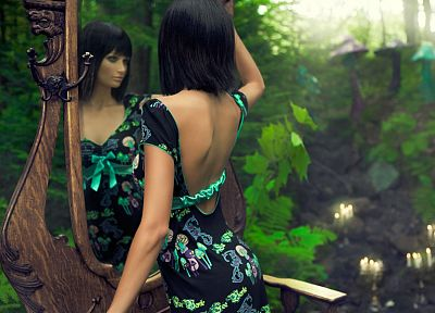 brunettes, women, dress, mirrors, forests, short hair - random desktop wallpaper