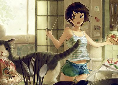 cats, cooking, soft shading, anime girls, original characters - related desktop wallpaper