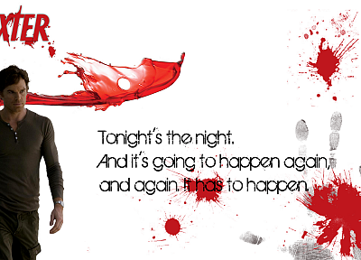 Dexter, typography, blood splatters, Michael C. Hall, TV series, white background, Dexter Morgan, palm prints - desktop wallpaper