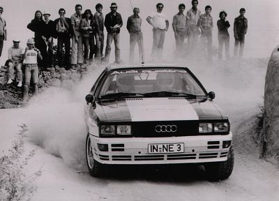 cars, Audi, dust, rally, grayscale, vehicles, racing, Audi Quattro, races, Quattro, rally cars, German cars, racing cars, rally car - random desktop wallpaper