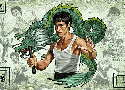 Bruce Lee, dragons, 3D, fighters - related desktop wallpaper